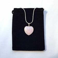 "Rose Quartz Heart Shaped Necklace Pendant With Silver Plated 18"" Chain"