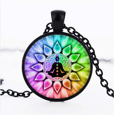 Meditation Flower of Life Chakras Glass Cabochon Black Pendant Necklace + Gift
