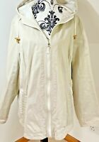 Bon Marche Short Coat Size L 14 16 Jacket Tan Beige Cotton Hooded Oversized
