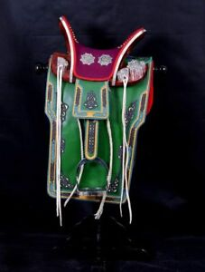 Mongolian Green Cowhide Saddle 2
