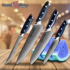 Knife Set 4-PIECE Chef Santoku Utility Boning Damascus Kitchen Knives Blue Line