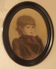 Gekonnte Porträtzeichnung eines jungen Mädchens um 1900, Pastell, Portrait