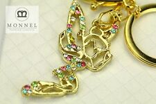 Z614 Lovely Angel Fairy Tinkerbell Crystal Gold Tone Big Keychain Clasp