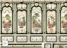 World & Model Relief 34810 Wallpaper Panel dollhouse 1p 1/12 scale w/ Gold Leaf