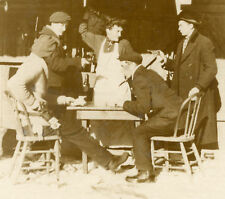 VINTAGE ANTIQUE GAMBLERS GUN PISTOL SHOOTOUT OLD CARD GAME BOTTLE PHOTO RPPC