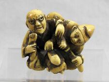 Old Hand Carved Japanese Netsuke - Wrestlers