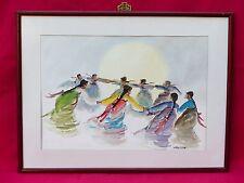 9 ASIAN WOMEN WATERCOLOR PAINTING SIGNED HOE WON ASIAN KOREAN TRADITIONAL DANCE
