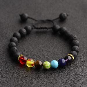 7 Chakras Lava Rock Natural Stone Yoga Beads Bracelets Healing Bangle Men Women