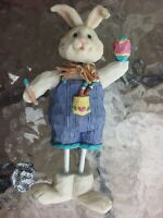 "Easter Bunny Rabbit W/ Paintbrush & Egg 7"" Figure Figurine Spring Holiday Decor"