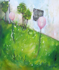 Contemporary Abstract Art Texture Oil Painting Pink Baloons Martine LEtoile
