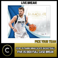 2018-19 PANINI IMMACULATE BASKETBALL 5 BOX CASE BREAK #B225 - PICK YOUR TEAM