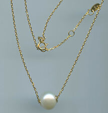 925 GOLD VERMEIL & 10 MM GENUINE WHITE FRESHWATER PEARL NECKLACE