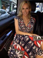 Tory Burch Silk Dress NWT $595 4 Seen on Michelle Obama  Midi S Red Blue