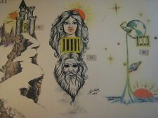 Vintage Tattoo Flash  14'' x 11'' in.    K-31 Hand colored by Ron Kevie