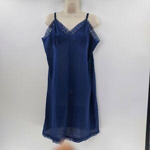 Vintage Vanity Fair Navy Blue Floral Lace Trim Full Dress Slip Antron Nylon 40