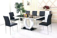 Square Black Glass Dining Table and 6 Chairs Set Dining room