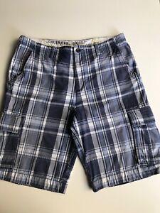Colorado Mens Checked Cargo Casual Shorts Bermuda Blue Cotton Size 36