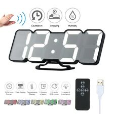 Digital Wall Clock Wireless Remote Control Large Desktop Rgb Led Alarm Clock