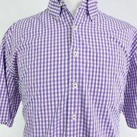 PETER MILLAR SHORT SLEEVE PURPLE GINGHAM CHECK BUTTON DOWN SHIRT MENS SIZE XL
