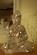 MIRROR GLASS MOSAIC SERENE BUDDHA SITTING - 34CM - SILVER - NEW