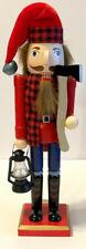 "Woodsman Nutcracker Wooden Christmas Nutcracker 15"" Cabin Lodge iBuffalo Plaid"