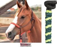 Classic Equine Rope Halter Lime Green and Teal Horse Tack
