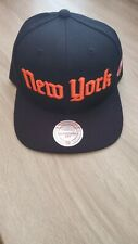 Mitchell & Ness New York Gothic City Spell Out Snapback Hat Cap Black/Orange NHL