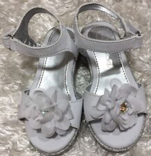 Toddler Girls White Flower Jelena Sandal w Silver Glitter Wedges Size 7