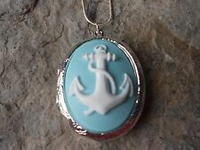 (LOCKET)--STUNNING ANCHOR CAMEO LOCKET!!! PALE AQUA - QUALITY!!! NAUTICAL, NAVAL