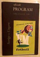 1958 World Cup Finals Programme SWEDEN v HUNGARY, 12 June