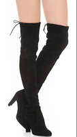NEW! $798 Stuart Weitzman Black Suede Over The Knee Boots Highland BLACK size 9M