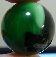 Vintage Marbles 1 Akro Agate Corkscrew HTF Dark Green Sub Base W White .880  7/8