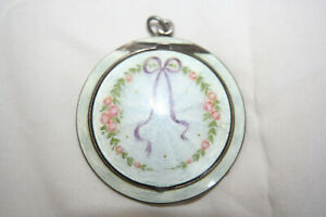 Guilloche enamel and silver Chatelaine or pendant compact