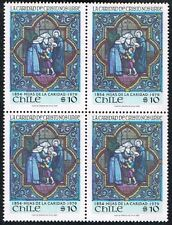 CHILE 1980 STAMP # 978 MNH BLOCK OF FOUR ART VITRAUX RELIGION