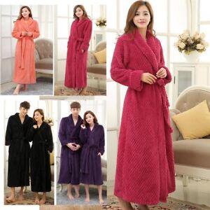 Peignoir Femme Épais Gaufre Long Kimono Hiver Robe de Chambre Couples Peignoir