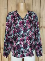 ATTENTION Womens Size Large Long Sleeve Shirt Vneck Button Down Abstract Top