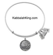 Wind & Fire Volleyball Sport Charm Silver Expandable Bangle Bracelet Made In USA