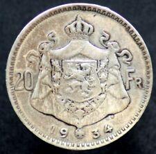 20 FRANCS 1934 BELGIQUE / BELGIUM / BELGIE [argent / silver] Albert Koning