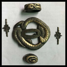 Japanese sword (SEPPA-HABAKI-ITO) alloy snake Menuki Fuchi-Kashira Tsuba