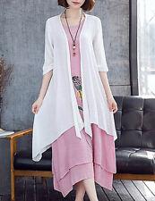 Women's Dress Pink & White Floral Print Multi-Layer Asymmetrical BNWT Sz 3XLAu