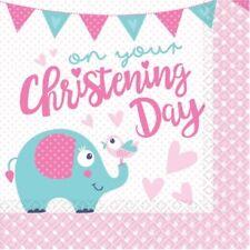 16 x Christening Elephant Napkins 33cm Girls Religious Party Tableware Supplies