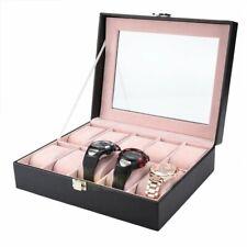 PU Leather 10 Slots Wrist Watch Display Box Storage Holder Organizer Case Gift
