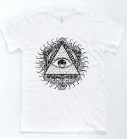 Illuminati Eye Pyramid T-shirt Indie Retro Triangle Tattoo Sketch Tee