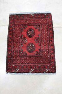 Genuine Afghan Aqcha - Hand Knotted Red & Black Bokhara Wool Small Rug  50x65 cm