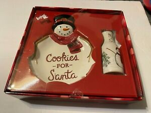 Cookies for Santa Set, St. Nicholas Square/Yuletide 2-pc. Snowman Plate & bottle