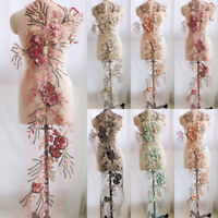 3D Lace Flower Embroidery Applique Beaded Bridal Pearl Tulle DIY   Wedding Dress