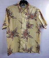 Columbia XCO Men's SS Button Down Hawaiian Yellow Camp Shirt  XL Cotton Floral