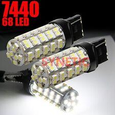 2x 7443 7440 7444 High Power SMD 68-LED 6000K White Reverse Backup Light Bulbs