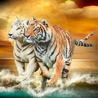 5D DIY Full Drill Diamond Painting Two Tigers Cross Stitch Embroidery Craft Kits