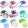 54pcs Gauges Kit Glitter Spiral Tapers Plugs Stretching Set 14G-00G 8 Colors